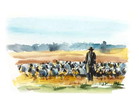 El pastor con rebaño de ovejas. Ilustración acuarela dibujada a mano. Boceto con bolígrafo de gel
