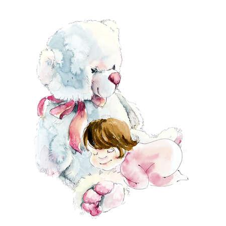 Baby-girl sleeps on a teddy bear. Watercolor hand drawn illustration Standard-Bild