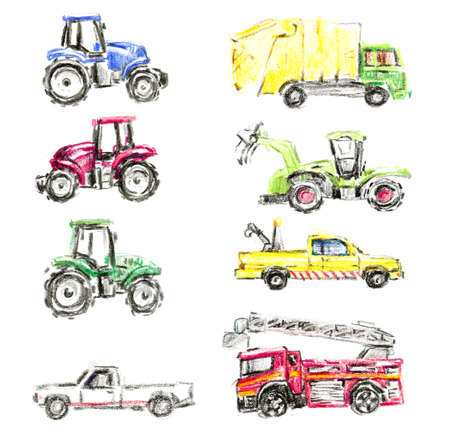Secial equipment. Wax crayons. Hand drawn illustration Stock Photo
