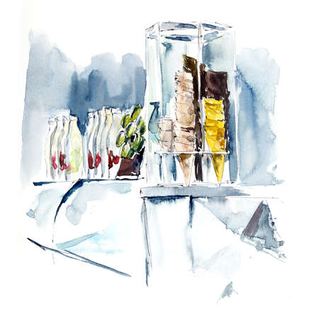 Ice-cream parlour. Watercolor hand drawn illustration Stock fotó
