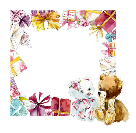 Vierkant frame van cadeautjes. Aquarel handgetekende illustratie Stockfoto