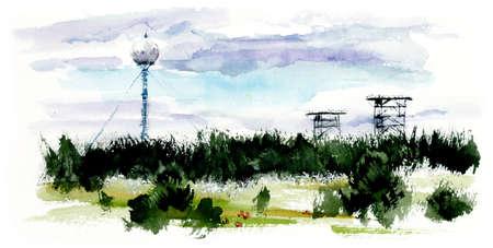 Russian landscape. Watercolor hand drawn illustration