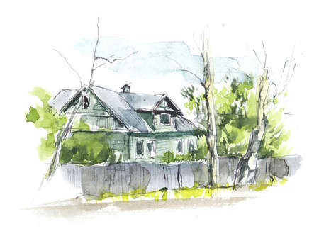 Rural houses. Village. Watercolor hand drawn illustrations