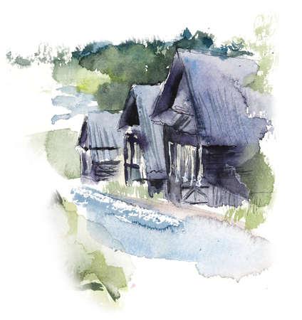 Rural houses. Village. Watercolor hand drawn illustrations 写真素材