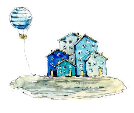Seaside village. Watercolor hand drawn illustrations