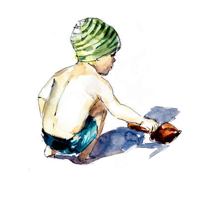 Boy on the beach playing in the sand. Watercolor hand dawing illustration 写真素材