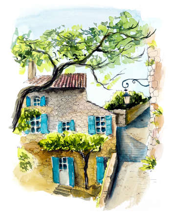 Provence. Hand drawing illustration. Black pen and watercolor