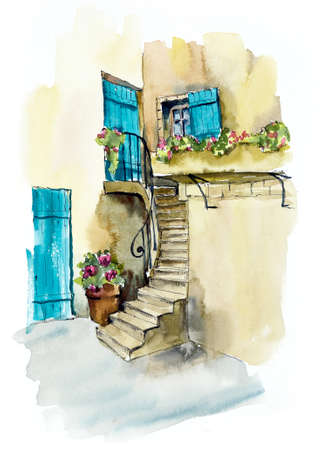 Provence. Hand drawing illustration. Gel pen and watercolor Фото со стока