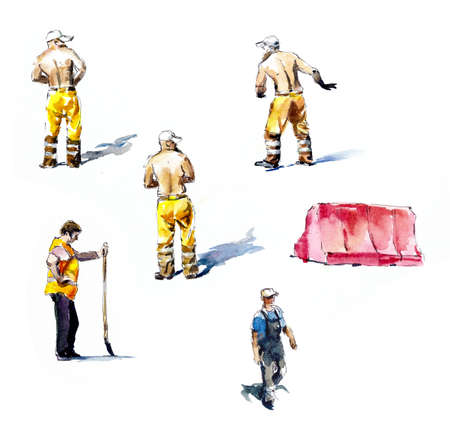 Road makers. Workers. Watercolor hand drawn illustration
