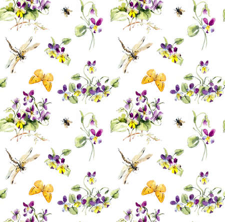 Seamless pattern from Bouquet of violets and insects. Flower backdrop. Watercolor hand drawn illustration