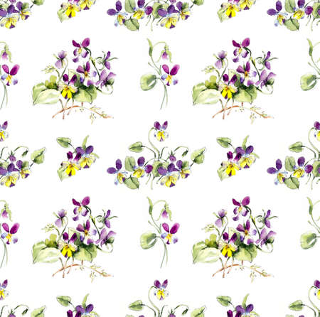 Seamless pattern from Bouquet of violets. Flower backdrop. Watercolor hand drawn illustration