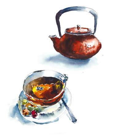 Teapot and cup. Sketch in little cafe. Watercolor hand painted illustration.