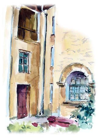 The old house in Novosibirsk, Russia. Watercolor hand drawn illustration Archivio Fotografico - 128392793