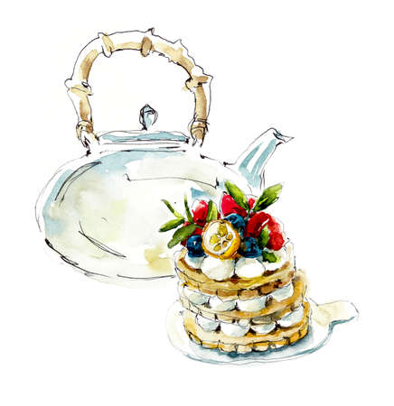Teapot with cake. Watercolor hand drawn illustration 写真素材