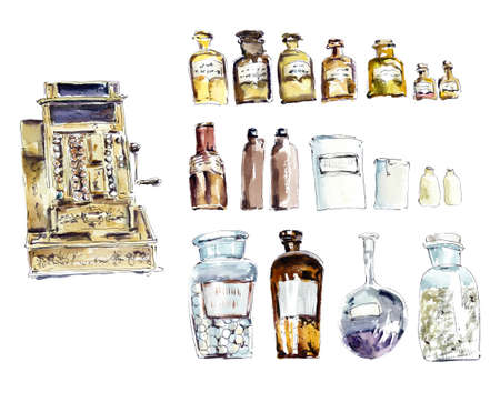 Ancient drugstore. Watercolor hand drawn illustration