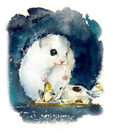 White hamster. Watercolor hand drawn illustration.