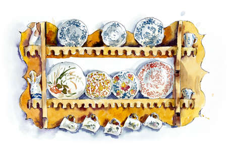 Porcelain on the beautiful shelf. Watercolor hand drawn illustration