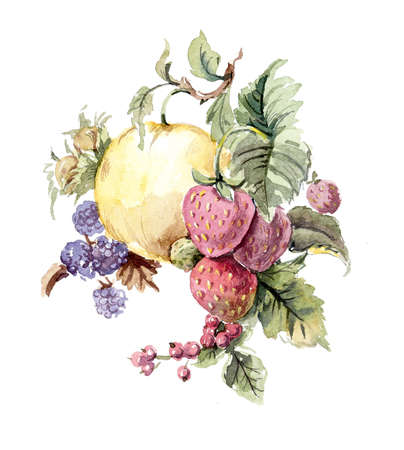 Pattern from berries and fruits. Watercolor hand drawn painting.
