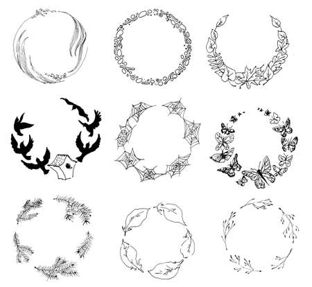 Round frames of natural objects. Hand-drawn vector illustration Ilustrace