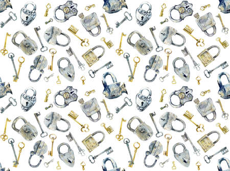 Seamless pattern. Old forged keys and locks. Watercolor hand drawn illustration 写真素材