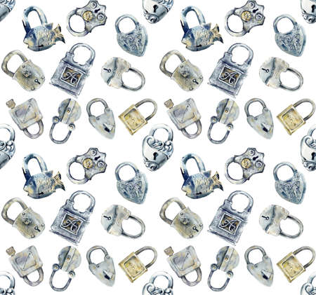 Seamless pattern. Old forged keys and locks. Watercolor hand drawn illustration Reklamní fotografie
