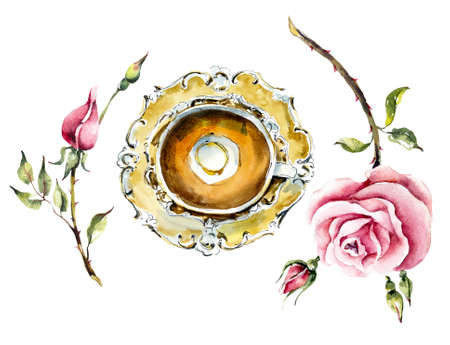 Tea Time. A cup of tea with roses. Watercolor hand drawn illustration.