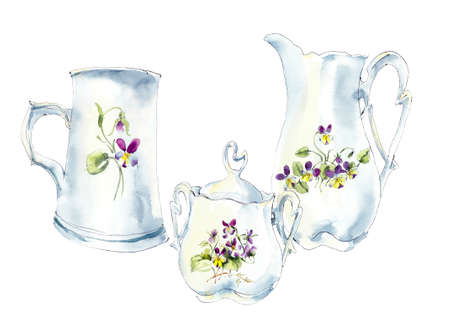 Tea time set with porcelain dishes. Watercolor hand drawn illustration