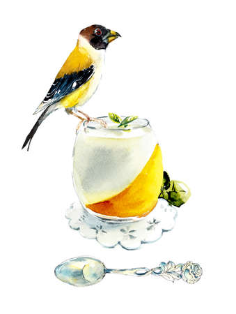 Tea Time. Yellow-billed Grosbeak on a mousse lemon cake. Watercolor hand drawn illustration. 写真素材