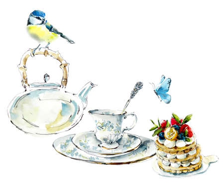 Tea Time. Titmouse and butterfly on a tea drinking. Watercolor hand drawn illustration.