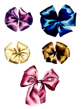 Set of stylish and colorful gift bows. Watercolor hand drawn illustration 写真素材
