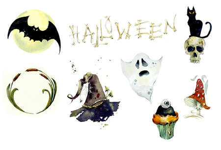 Watercolor set of halloween elements. Bright hand-drawn elements, mushroom, skull, hat witch, cake, reduction 写真素材