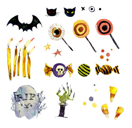 Watercolor set of halloween elements. Bright hand-drawn elements, sweets, rip, zombie hand