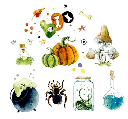 Watercolor set of halloween elements. Bright hand-drawn elements, mushroom, spider, poison, pumpkin Stock fotó