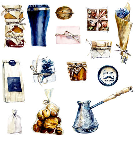 Coffee and sweets. Options for a stylish gift to the man or woman. Watercolor hand drawn illustration