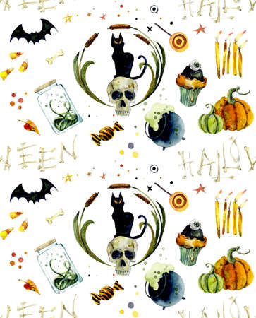 Watercolor seamless pattern of halloween elements. Bright hand-drawn elements