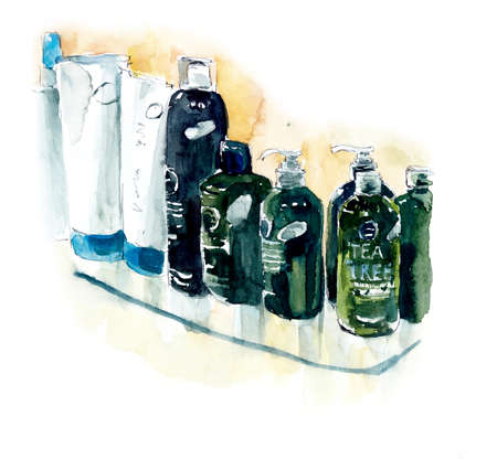 Green bottles with hair preparationHairdressing salon. Watercolor hand drawn illustration 写真素材