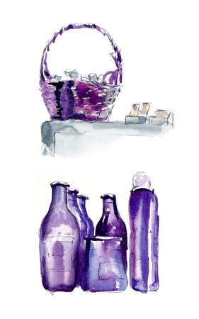 Purple bottles with hair preparation. Hairdressing salon. Watercolor hand drawn illustration