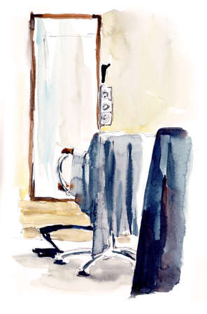 Hairdressing salon. Watercolor hand drawn illustration