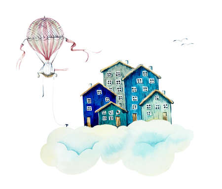 Cloudy village. Watercolor hand drawn illustrations 写真素材