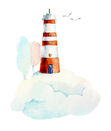 Red beacon on the cloud. Watercolor hand drawn illustrations 写真素材