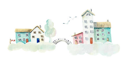 Cloudy village. Watercolor hand drawn illustrations Reklamní fotografie