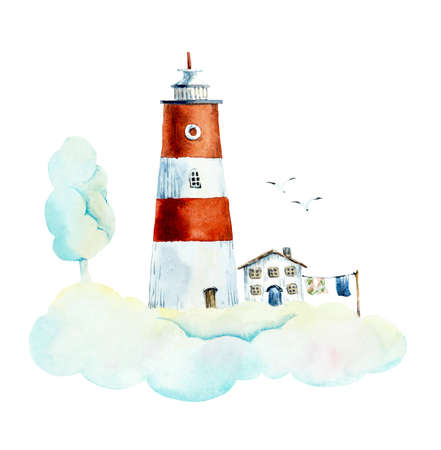 Red beacon on the cloud. Watercolor hand drawn illustrations Reklamní fotografie