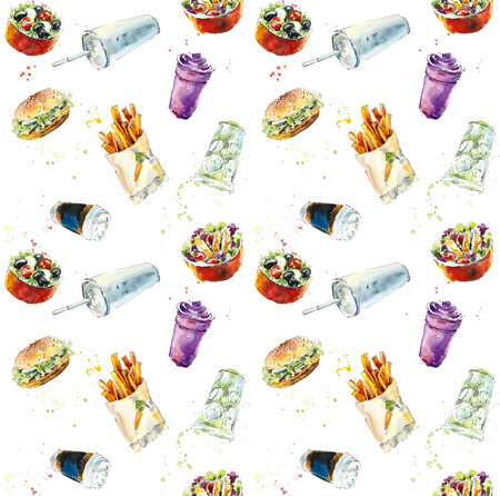 Seamless pattern from fast food. Watercolor hand drawn illustration Stockfoto