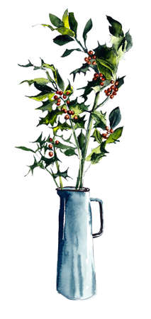Holly branches in a vase. Watercolor hand drawn illustration Reklamní fotografie