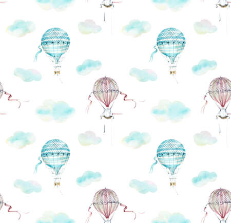 Seamless pattern with clouds. Watercolor hand drawn illustrations