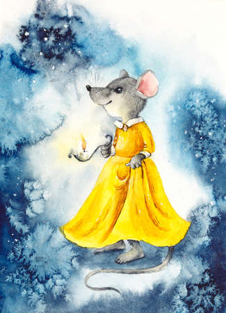 A mouse with a lantern in a yellow dress. Watercolor hand drawn illustration