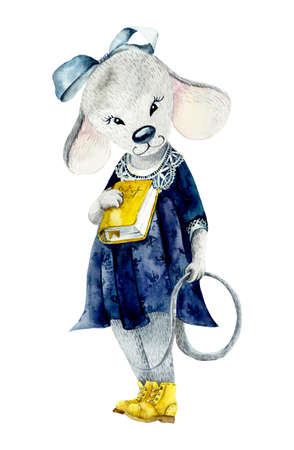 A mouse with a yellow book. Watercolor hand drawn illustration