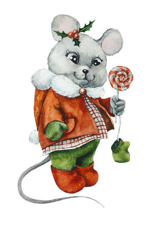 Christmas Card. Mouse in winter clothes with a lollipop. Watercolor hand drawn illustration