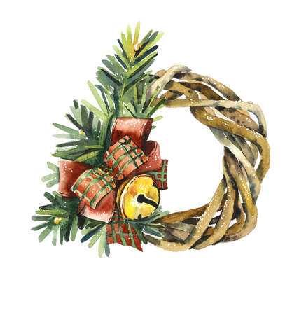 Christmas wreath. Hand drawn watercolor illustration.