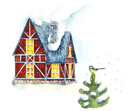 House. Winter. Watercolor hand drawn illustration